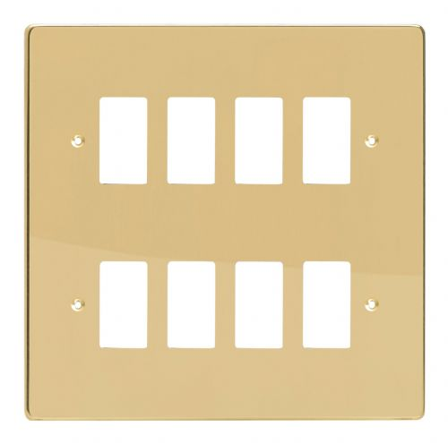 Varilight XDVPG8 PowerGrid Polished Brass 8-Gang Grid Plate (Double Twin Plate)